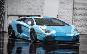 Смотреть обои Vehicles, Lamborghini Aventador, Blue, SuperCar