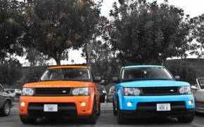Смотреть обои land rover, range rover sport, blue, orange