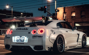 Preview wallpaper  <b>Night</b>, Nissan, Nissan GT-R, White