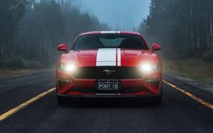 Смотреть обои Ford Mustang GT, MuscleCar, Red, Car, Vehicle