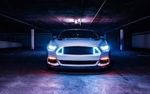 Смотреть обои Car, Ford Mustang, MuscleCar, White, Neon