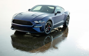 Смотреть обои Blue, Car, Ford Mustang, MuscleCar, Vehicle