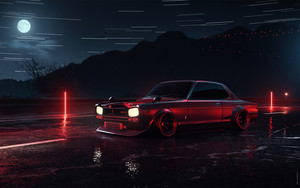 Preview wallpaper Nissan Skyline 2000 GT-R, Car, Art, Moon