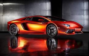 Смотреть обои Lamborghini Aventador, orange supercar