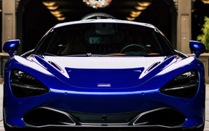 Смотреть обои McLaren 650S, Blue, Front view, Supercar