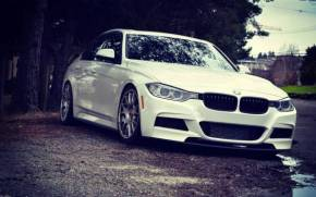 Смотреть обои BMW f30 wheels stance white