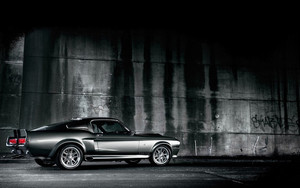 Смотреть обои Black, Car, Fastback, MuscleCar, Shelby GT500