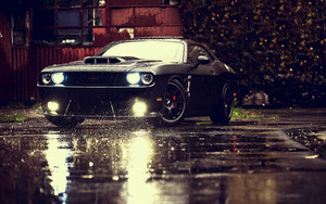 Смотреть обои Dodge, Rain, Black, Drops, Reflection, Muscle Car