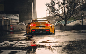 Preview wallpaper Car, SuperCar, Toyota Supra, Yellow, Rain