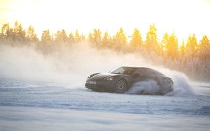 Preview wallpaper of Black, Car, Porsche, Porsche Taycan 4S, Snow