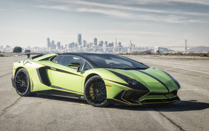 Смотреть обои Green, Lamborghini Aventador, SuperCar, Vehicle