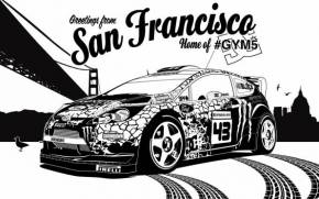 Смотреть обои Ford fiesta rs wrc rally, gymkhana5, San Francisco