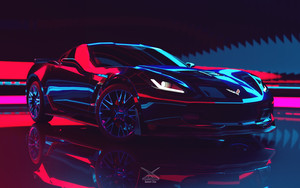 Preview wallpaper of Car, Neon, SuperCar, Chevrolet Corvette Z06