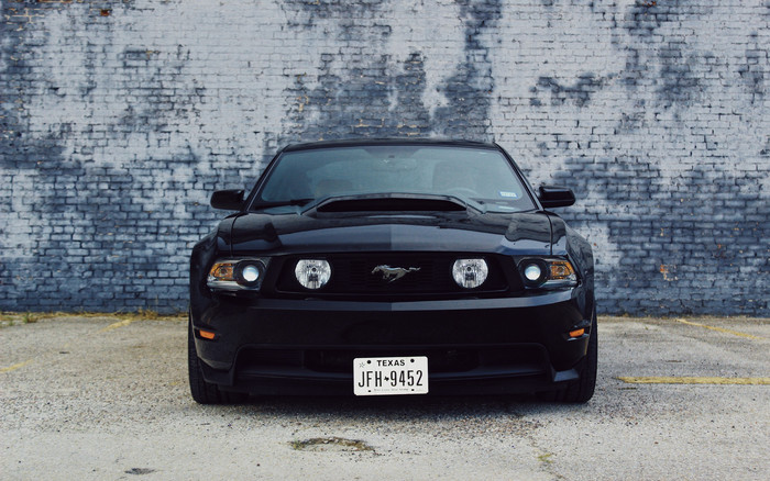 HD Wallpaper of Ford Mustang, Car, Black, Front View