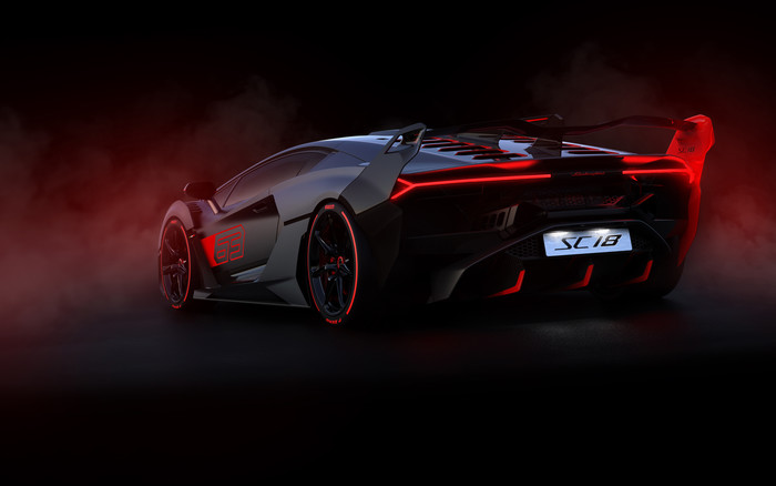 HD Wallpaper Vehicles, Car, Red, Black, Line, Lamborghini SC18