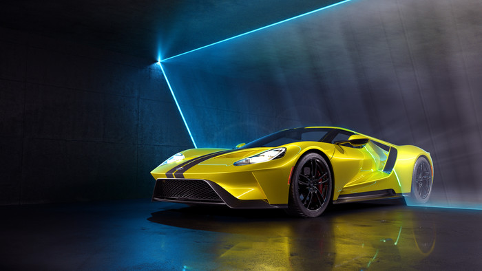 Wallpaper of Car, Ford GT, Sport Car, Supercar, Yellow background & HD image