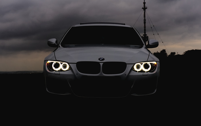 HD Wallpaper of BMW, Headlights, Auto, Cloudy, Angelic Eyes