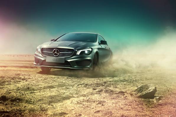 HD Wallpaper Mercedes-Benz AMG C117, пустыня, пыль, занос