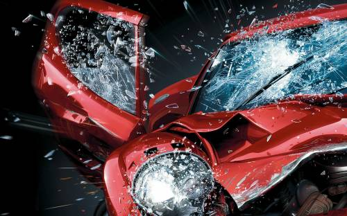 HD Wallpaper Red car, Accident, Bounce