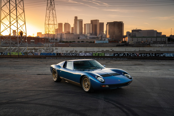 HD Wallpaper Blue, Car, Lamborghini Miura, SportCar, City, LA