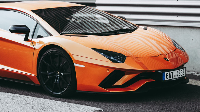 HD Wallpaper Sportcar, Side view, Orange, Stylish, Lamborghini
