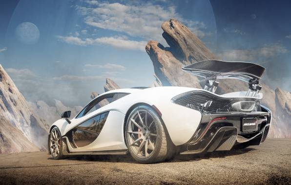 HD Wallpaper McLaren P1 на фоне скал