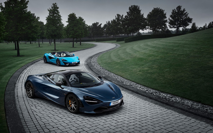 Wallpaper of Blue, Car, McLaren 570S Spider, McLaren 720S background & HD image