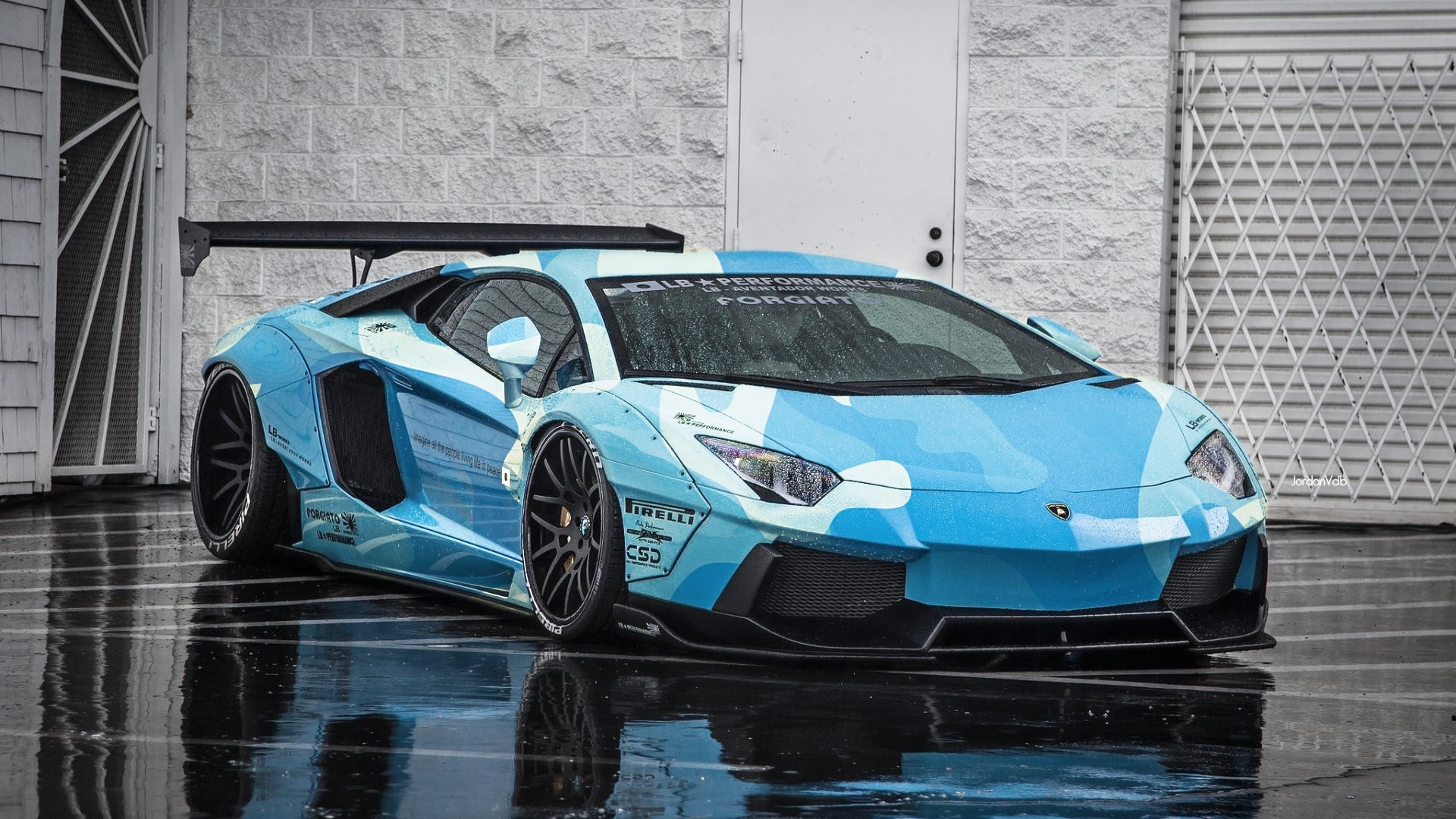 Wallpaper Vehicles Lamborghini Aventador Blue Supercar Ubackground Com