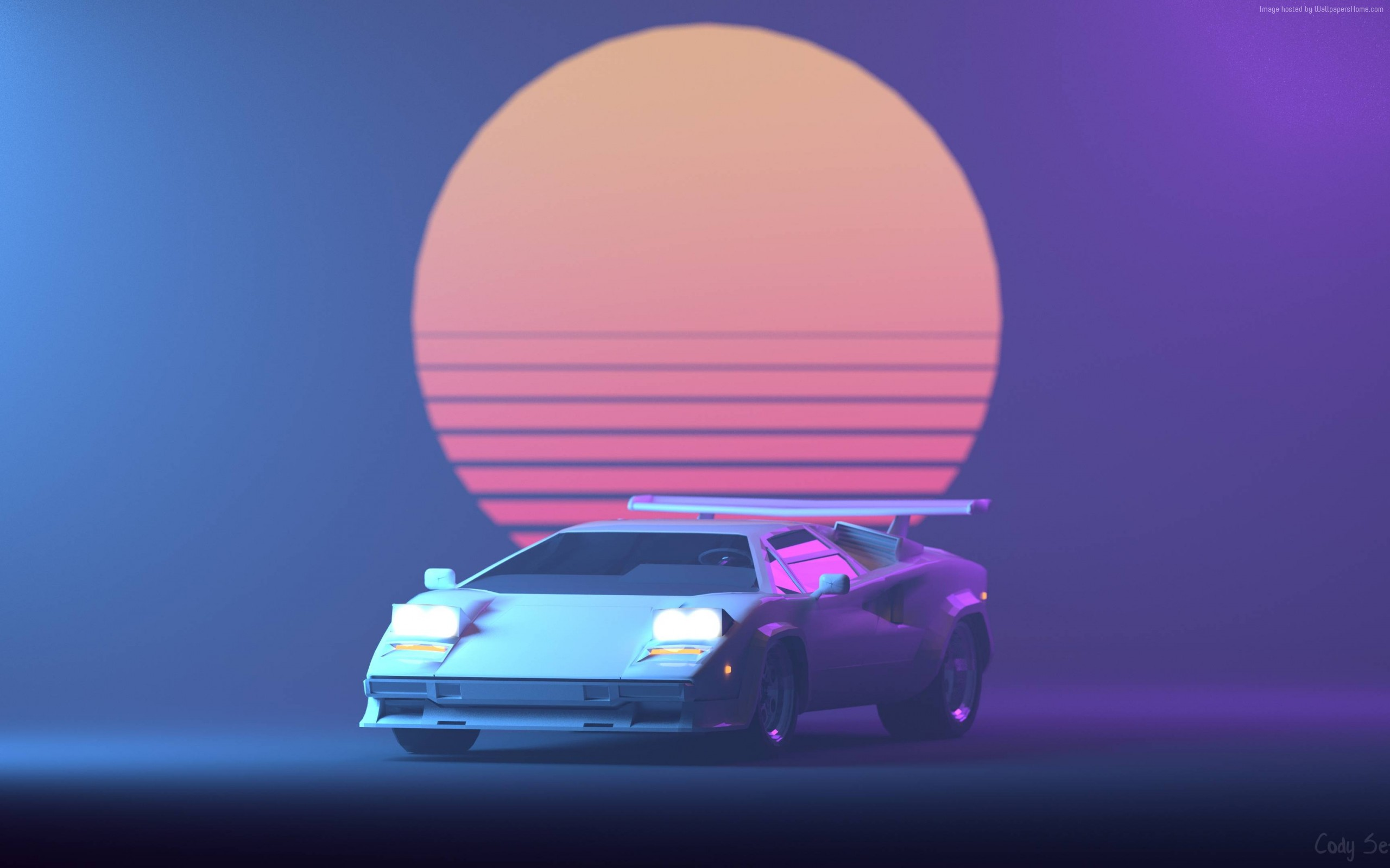 Wallpaper Of Retrowave Purple Lamborghini Countach Background Hd