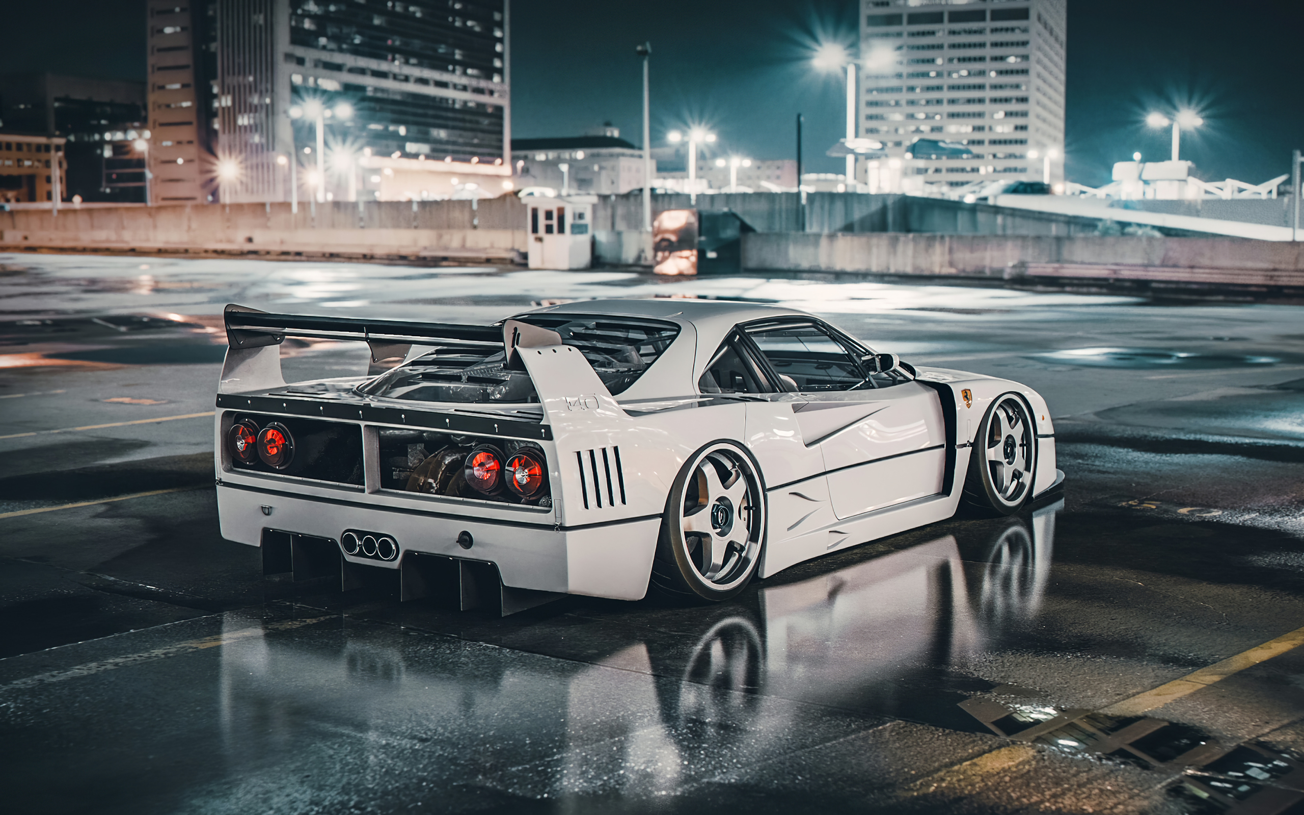 Wallpaper Of Ferrari F40 Lm Car White City Supercar Background