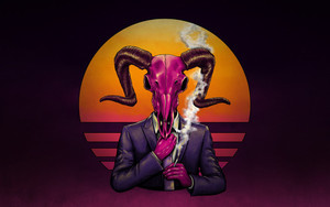 Preview wallpaper Art, Demon Horns, Retro Wave, Smoke