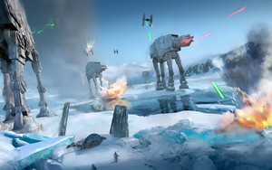 Preview wallpaper of AT-AT Walker, Battle Hoth, Star Wars, TIE Fighter