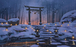 Preview wallpaper Bamboo, Snow, Torii, Winter, Surendra Rajawat