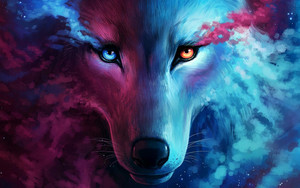 Preview wallpaper Blue, Colors, Eye, Fantasy, Smoke, Wolf