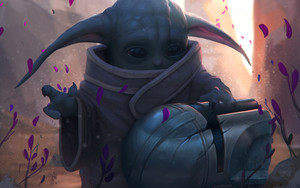 Preview wallpaper Baby Yoda, Helmet, Star Wars, The Mandalorian