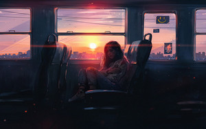 Preview wallpaper Art, Alone, Girl, Sunset