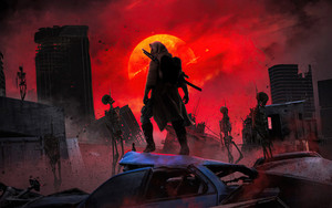Preview wallpaper of Post Apocalyptic, Skeleton, Sunset