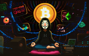 Preview wallpaper Anonymous, Bitcoin, Art