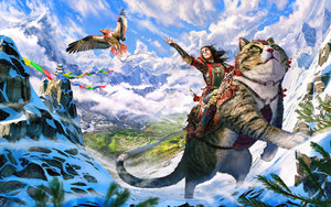 Смотреть обои Animal, Cat, Eagle, Girl, Landscape, Mountain