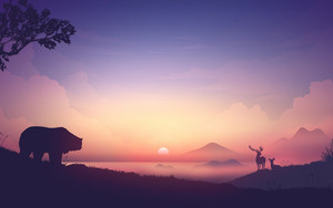Preview wallpaper  <b>Sunset</b>, Bear, Deer, Art