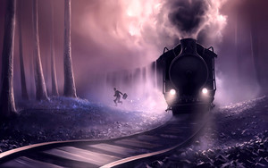 Смотреть обои Train, Man, Railroad, Art, Rush, Escape