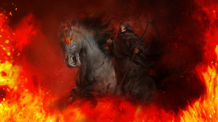 Wallpaper of Flame, Grim Reaper, Horse, Scythe background & HD image