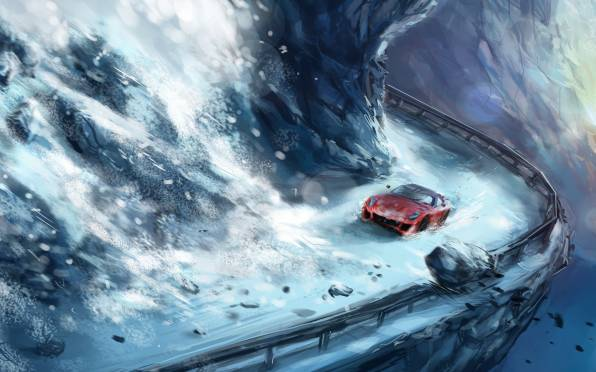 HD Wallpaper Ferrari, Accident, Landslide, Art