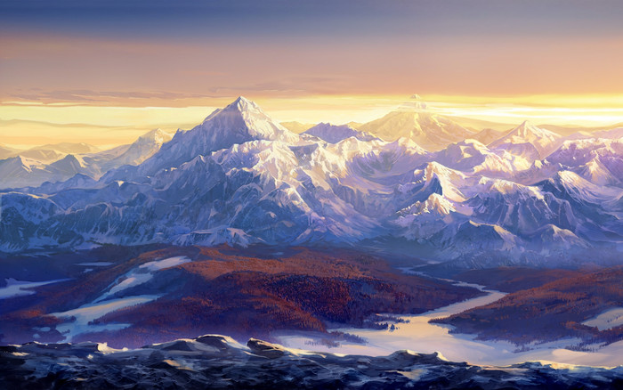 HD Wallpaper of Mountains, Alps, Rivers, Painting