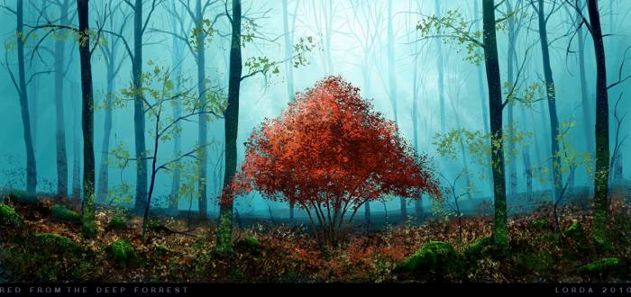 Обои Red from the deep forest
