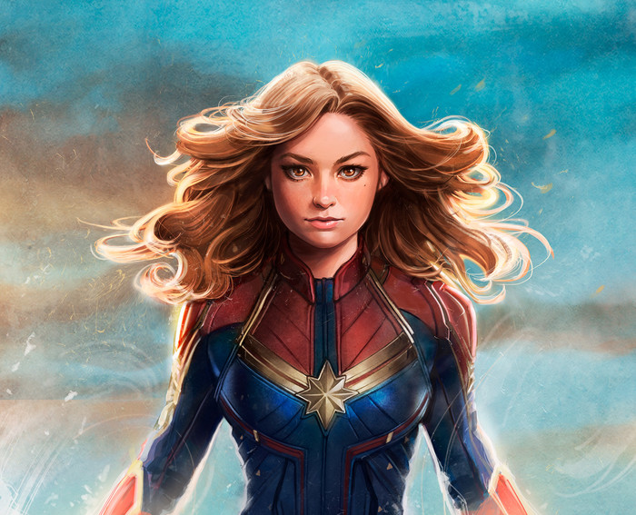 Wallpaper of Blonde, Brown Eyes, Captain Marvel, Girl background & HD image