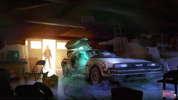 Movie, Back To The Future, Car, Garage Wallpaper. Download Art (Живопись) HD desktop background image