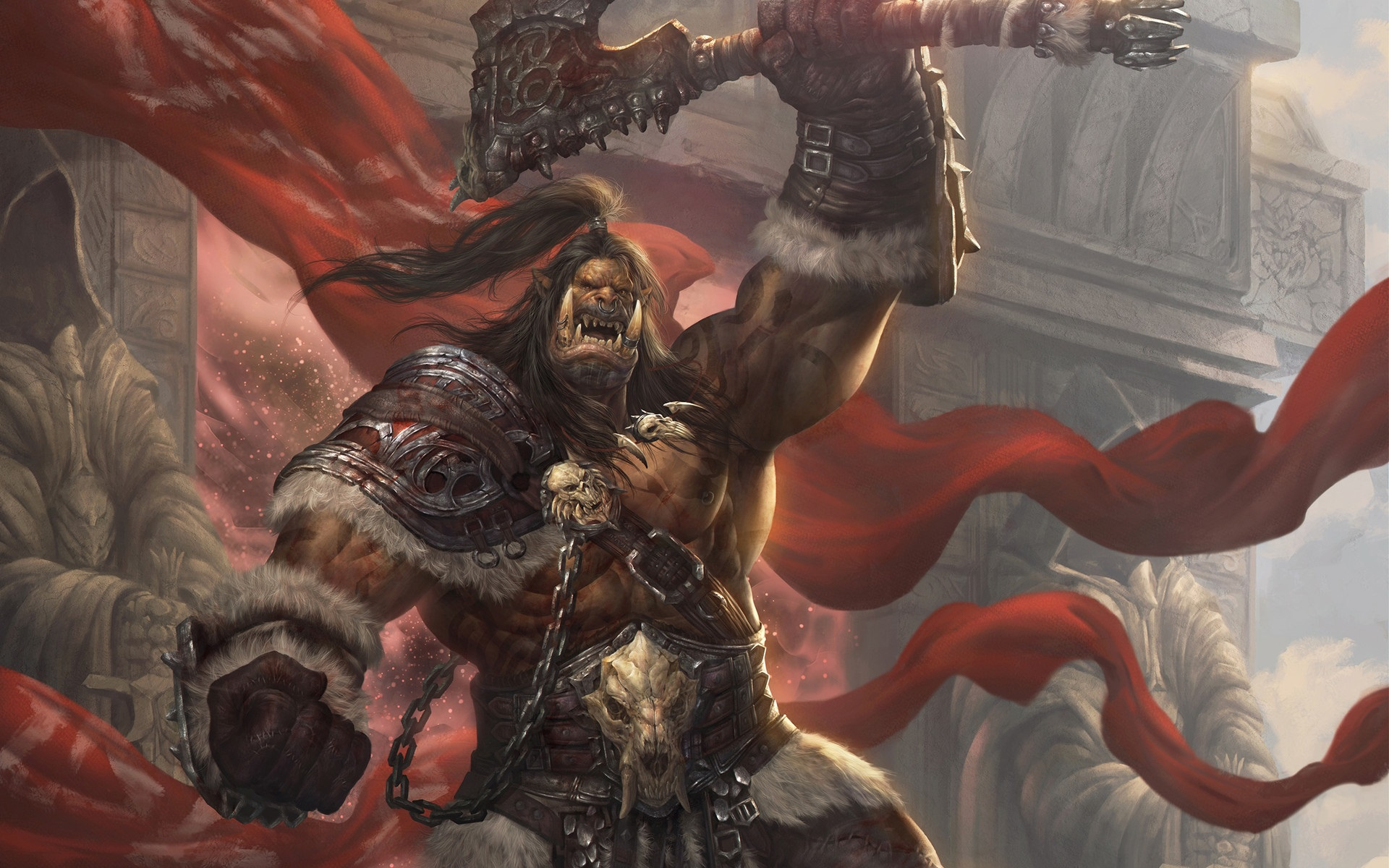 Wallpaper Of Grommash Hellscream Orc Warrior Wow Art