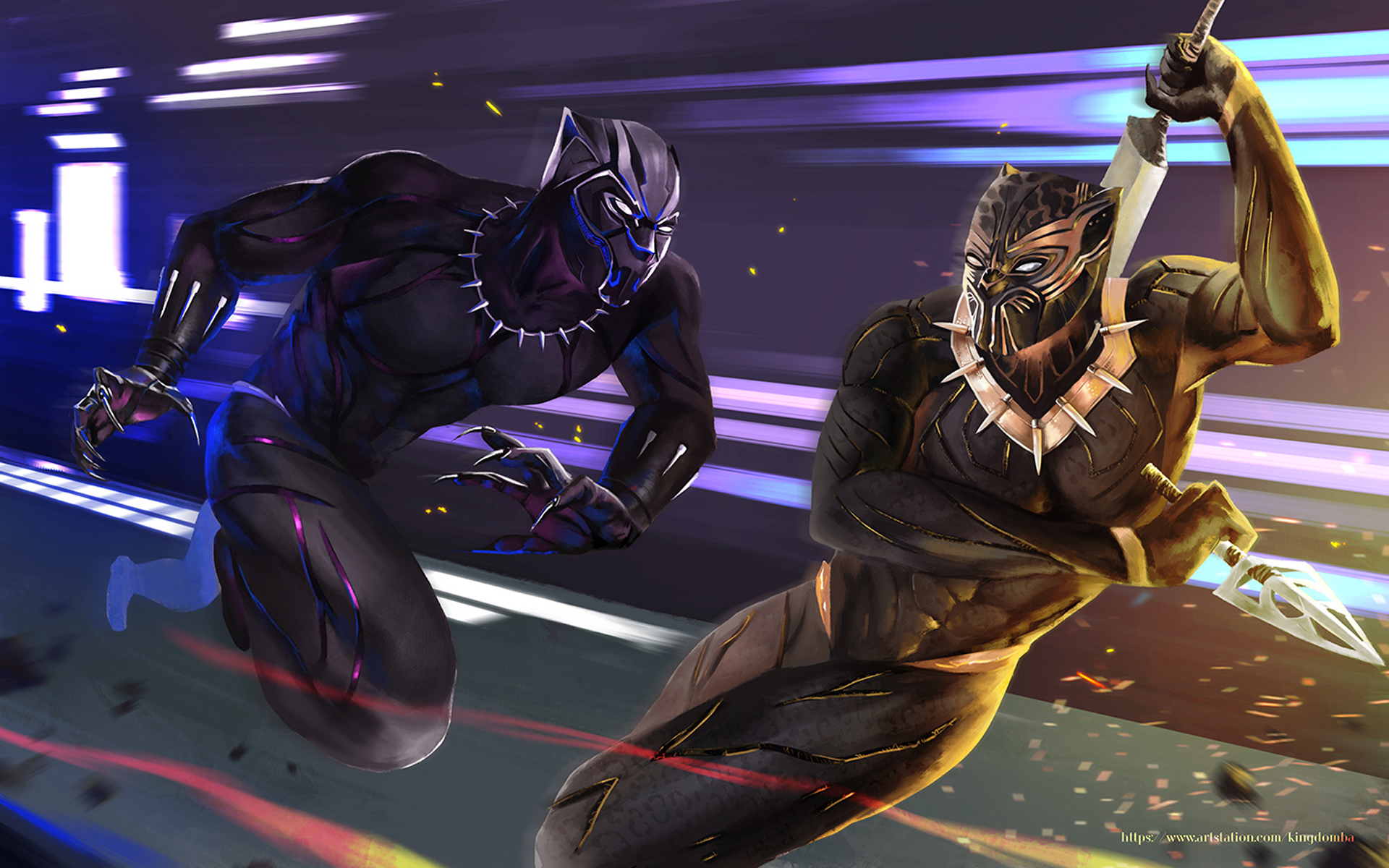 Black Panther Marvel Comics Art Fight Wallpaper