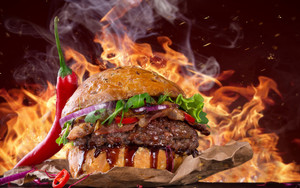 Preview wallpaper of hot, spicy burger, pepper, fire